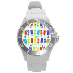 Food Pattern Round Plastic Sport Watch (l) by Nexatart