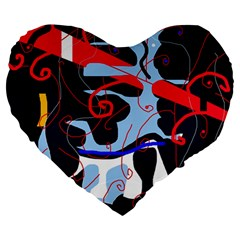 Abstraction Large 19  Premium Heart Shape Cushions by Valentinaart