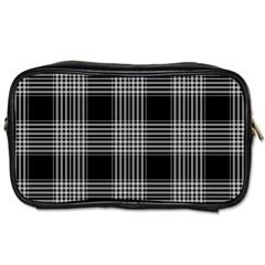 Plaid Checks Background Black Toiletries Bags 2 Side by Nexatart