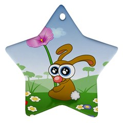 Easter Spring Flowers Happy Star Ornament (Two Sides)