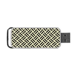 Woven2 Black Marble & Beige Linen (r) Portable Usb Flash (two Sides) by trendistuff