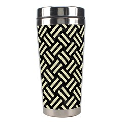 Woven2 Black Marble & Beige Linen Stainless Steel Travel Tumbler by trendistuff