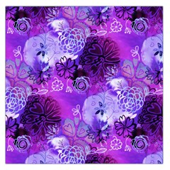 Urban Purple Flowers Large Satin Scarf (square) by KirstenStar