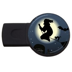 Halloween Card With Witch Vector Clipart USB Flash Drive Round (4 GB)