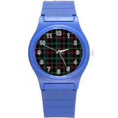 Plaid Tartan Checks Pattern Round Plastic Sport Watch (s) by Nexatart