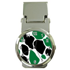Green Black Digital Pattern Art Money Clip Watches by Nexatart