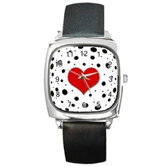 Red Heart Square Metal Watch by Valentinaart