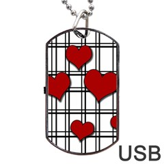 Hearts pattern Dog Tag USB Flash (One Side) by Valentinaart