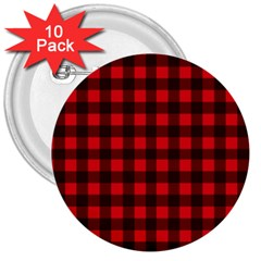Red And Black Plaid Pattern 3  Buttons (10 Pack)  by Valentinaart