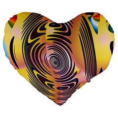 Ethnic Tribal Pattern Large 19  Premium Heart Shape Cushions by Nexatart