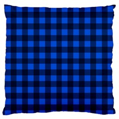 Blue And Black Plaid Pattern Large Flano Cushion Case (two Sides) by Valentinaart