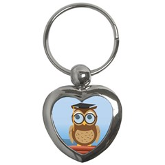 Read Owl Book Owl Glasses Read Key Chains (heart)  by Nexatart