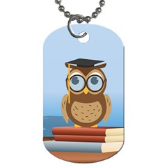Read Owl Book Owl Glasses Read Dog Tag (two Sides) by Nexatart