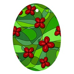 Flowers Ornament (Oval) by Valentinaart