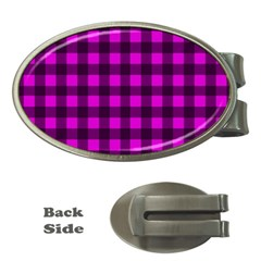 Magenta And Black Plaid Pattern Money Clips (oval)  by Valentinaart