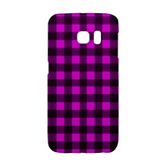Magenta And Black Plaid Pattern Galaxy S6 Edge by Valentinaart