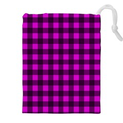 Magenta and black plaid pattern Drawstring Pouches (XXL) by Valentinaart