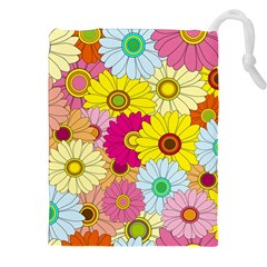 Floral Background Drawstring Pouches (xxl) by Nexatart