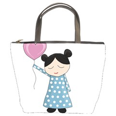 Valentines day girl Bucket Bags by Valentinaart