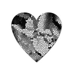Mosaic Stones Glass Pattern Heart Magnet by Nexatart
