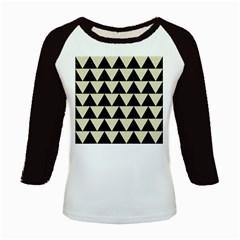Triangle2 Black Marble & Beige Linen Kids Baseball Jersey by trendistuff