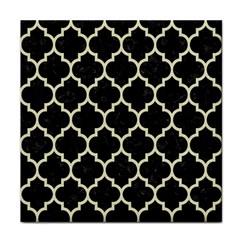 Tile1 Black Marble & Beige Linen Tile Coaster by trendistuff