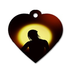 Silhouette Woman Meditation Dog Tag Heart (one Side) by Nexatart