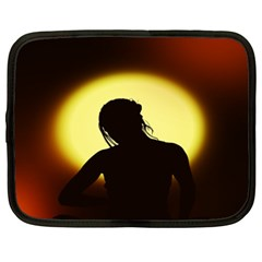 Silhouette Woman Meditation Netbook Case (XXL)  by Nexatart