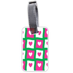 Pink Hearts Valentine Love Checks Luggage Tags (two Sides) by Nexatart