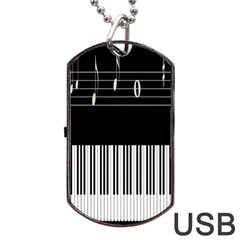 Piano Keyboard With Notes Vector Dog Tag Usb Flash (two Sides) by Nexatart
