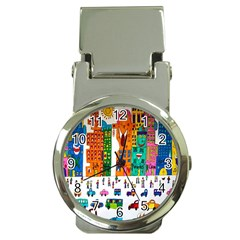 Painted Autos City Skyscrapers Money Clip Watches by Nexatart