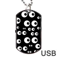 Seamless Eyes Tile Pattern Dog Tag USB Flash (Two Sides)