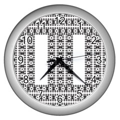 Pattern Background Texture Black Wall Clocks (silver)  by Nexatart
