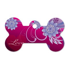 Love Flowers Dog Tag Bone (two Sides) by Nexatart