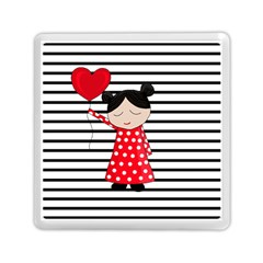 Valentines Day Girl 2 Memory Card Reader (square)  by Valentinaart