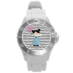 Valentines Day Design Round Plastic Sport Watch (l) by Valentinaart