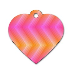 Pattern Background Pink Orange Dog Tag Heart (two Sides) by Nexatart