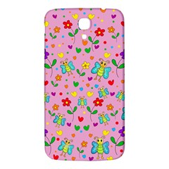Cute butterflies and flowers pattern - pink Samsung Galaxy Mega I9200 Hardshell Back Case by Valentinaart
