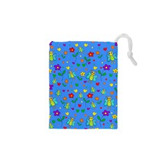 Cute Butterflies And Flowers Pattern   Blue Drawstring Pouches (xs)  by Valentinaart