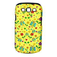 Cute butterflies and flowers - yellow Samsung Galaxy S III Classic Hardshell Case (PC+Silicone) by Valentinaart