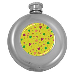 Colorful hearts Round Hip Flask (5 oz) by Valentinaart