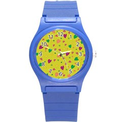 Colorful Hearts Round Plastic Sport Watch (s) by Valentinaart