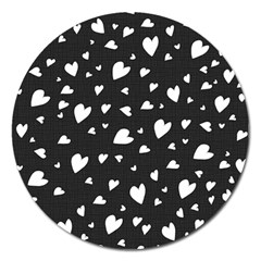Black And White Hearts Pattern Magnet 5  (round) by Valentinaart