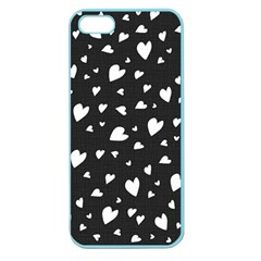 Black And White Hearts Pattern Apple Seamless Iphone 5 Case (color) by Valentinaart