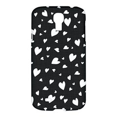 Black And White Hearts Pattern Samsung Galaxy S4 I9500/i9505 Hardshell Case by Valentinaart