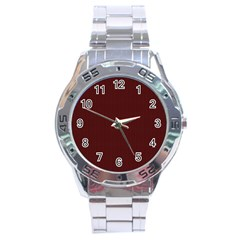 Red Texture Stainless Steel Analogue Watch by Valentinaart