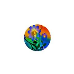Abstract Flowers Bird Artwork 1  Mini Buttons by Nexatart