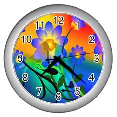 Abstract Flowers Bird Artwork Wall Clocks (silver)  by Nexatart