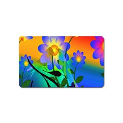 Abstract Flowers Bird Artwork Magnet (Name Card) by Nexatart
