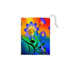 Abstract Flowers Bird Artwork Drawstring Pouches (xs)  by Nexatart